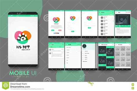 layout design for mobile application material design ui ux and gui for mobile apps stock