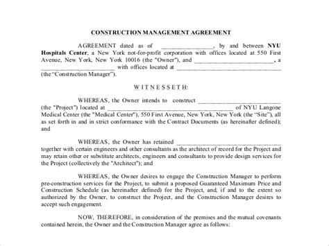 construction management agreement template 9 sle construction management forms sle forms