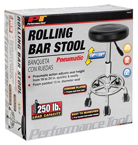 performance tool chrome plated pneumatic rolling bar stool ebay performance tool w85027 pneumatic rolling bar stool home