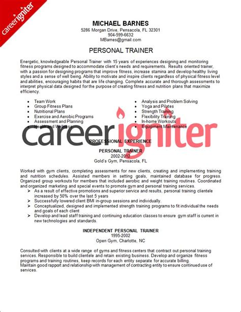personal training resume samples yun56co personal trainer resume