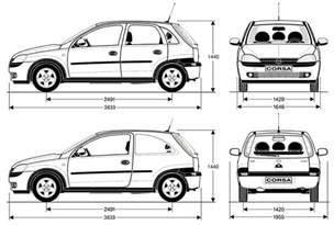 Opel Corsa Dimensions Opel Corsa 171 C 187 2000 2003