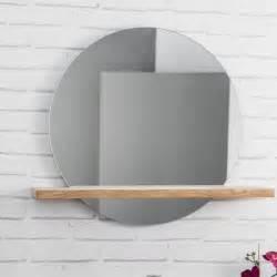 miroir bologne de salle de bain rond en teck massif 414