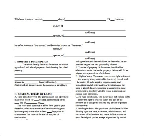 equipment lease agreement templates sample templates