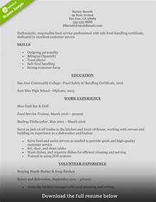 Food Service Resume Sle by How To Write A Food Service Resume Exles Included