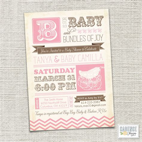 Baby Shower Invitation Baby Carriage Vintage Baby By