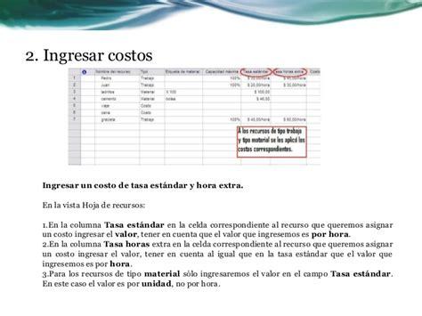 tabla de tasas de costo cos project costos con microsoft office project 2007