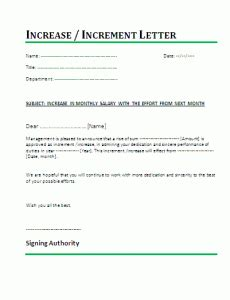 salary increment letter template salary increase word