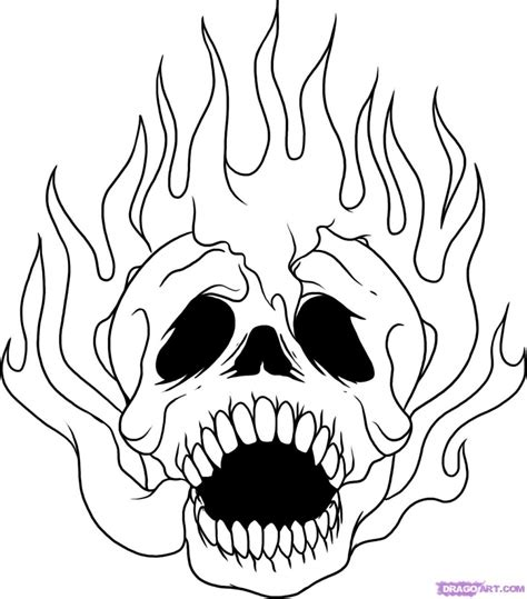 easy drawings of skulls learn how to draw a skull on fire