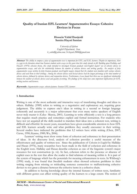 Cohesive Essay by Quality Of Iranian Efl Learners Argumentative Essays Cohesive Devices In Focus Pdf