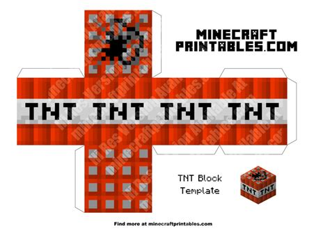 Minecraft Tnt Papercraft - tnt printable minecraft tnt block papercraft template
