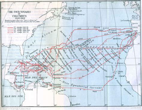 columbus map map of columbus voyages