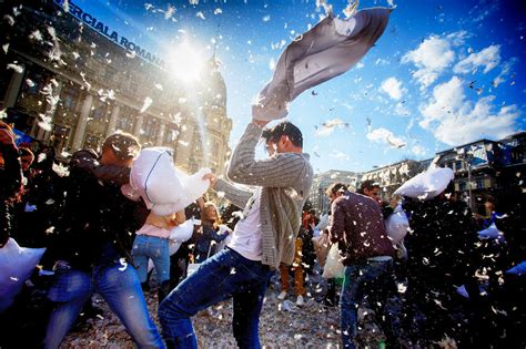 Pillow Fights by International Pillow Fight Day In Bucharest Romania