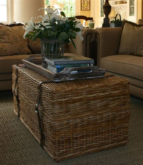 wicker basket coffee table wicker trunk from williams sonoma baskets