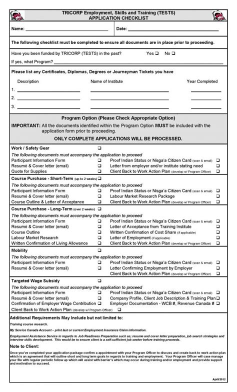application checklist template employment application