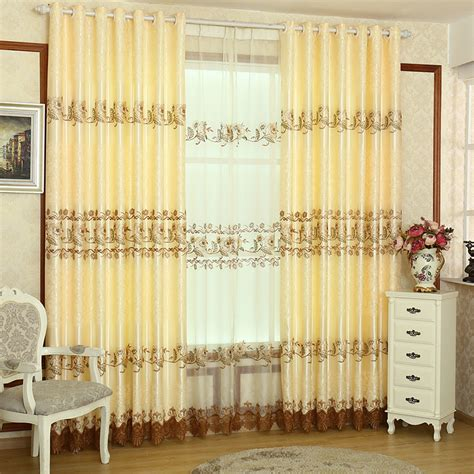 elegant living room curtains high quality gold color polyester embroidery elegant