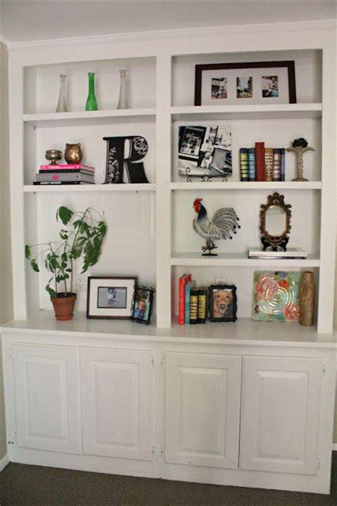 built in shelves living room ten june my living room built in bookshelves are styled almost