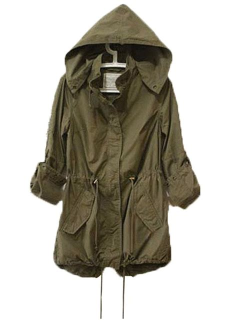 Rd Jaket Parka Army womens hoodie drawstring army green trench parka