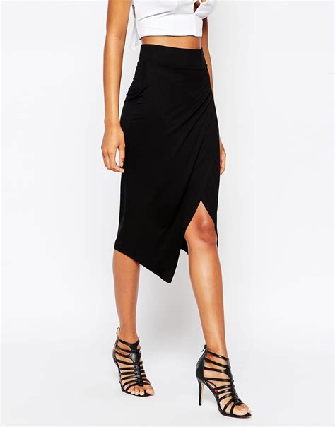 asos asymmetric wrap pencil skirt in black lyst