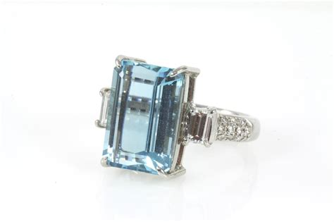 emerald cut aquamarine and ring 7 61ct