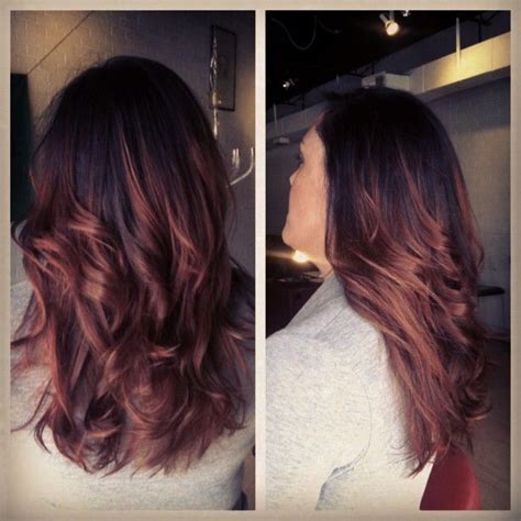 brunette and red hair pictures hombre black hair fades into redish auburn ombre love this