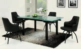 Frosted Glass Dining Room Table Extendable Frosted Glass Top Leather Designer Table And Chairs Set With Leaf Contemporary