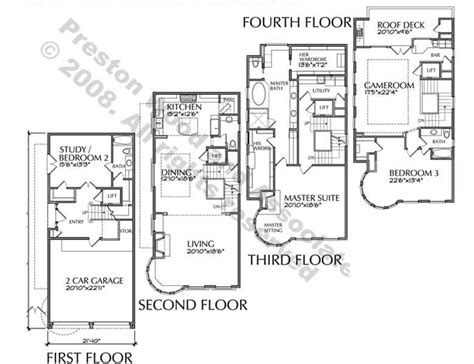 4 Story Townhouse Floor Plans by Townhouse Plan D4176 U5