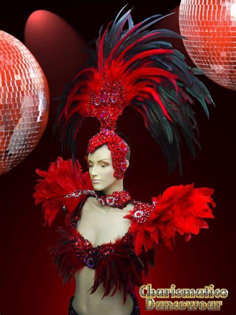 charismatico red drag queen samba rio carnival feather