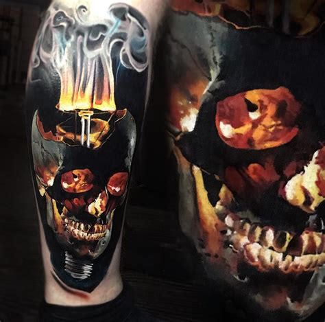 burning lightbulb amp skull with smoke best tattoo design
