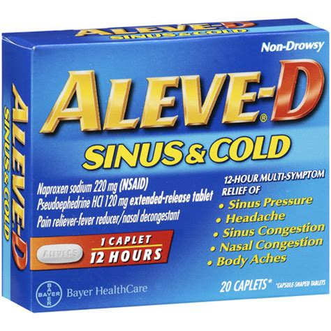 best sinus infection medicine aleve d sinus and cold caplets multi symptom relief 20