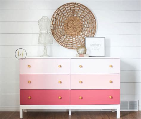ikea hack pink ombre dresser country chic paint guest