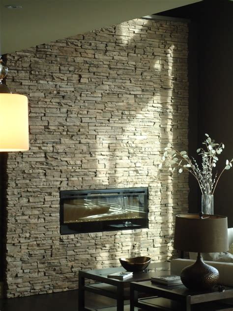 stone electric fireplace Family Room Contemporary with Floor to ceiling stonewall