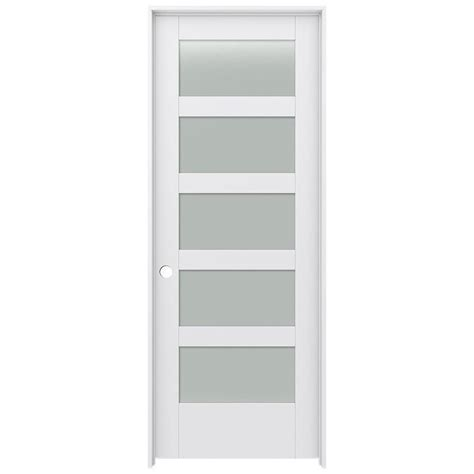 Prehung Interior Door With Glass Shop Jeld Wen Moda Frosted Glass Pine Single Prehung Interior Door Common 30 In X 80 In