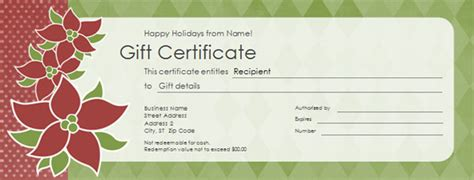 holiday gift certificate template excel xlts