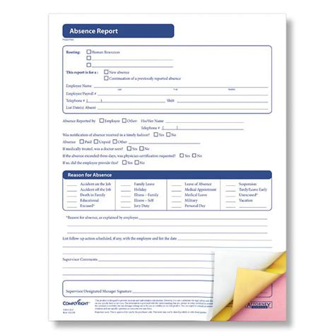 employee absence form template absence report form accurately documents employee absences