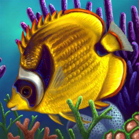 layer paint tropical raccoon butterfly fish by charfade on