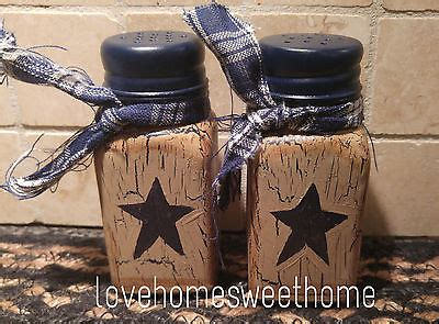 Navy Blue Primitive Decor primitive crackle navy blue lighted jar