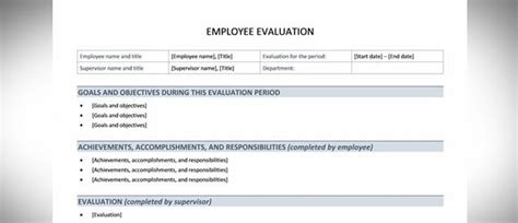 Best Free Employee Evaluation Templates And Tools Microsoft Word Employee Evaluation Template