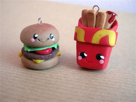 Handmade Polymer Clay Charms - handmade kawaii polymer clay fast food charms by blindoe