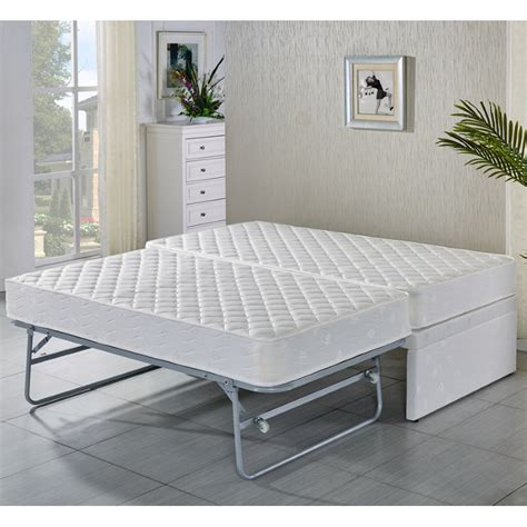 King Single White Bed Frame W Trundle 2 Mattresses Buy King Single Bunk Beds With Trundle