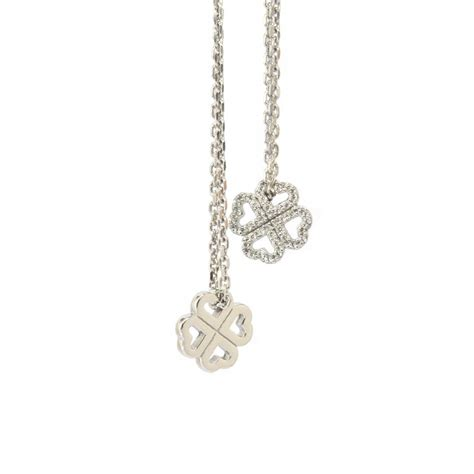 Clover Silver Pendant With Clear Cubic Zirconia And Neckla P 180 babbette wasserman silver four leaf clover cubic zirconia pendant and chain from