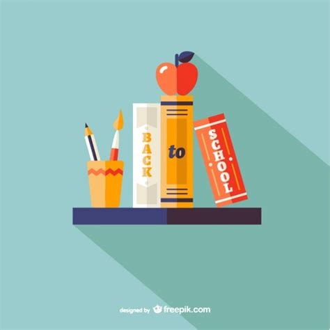 On The Shelf Back To School by Back To School Shelf With Books Vector Free
