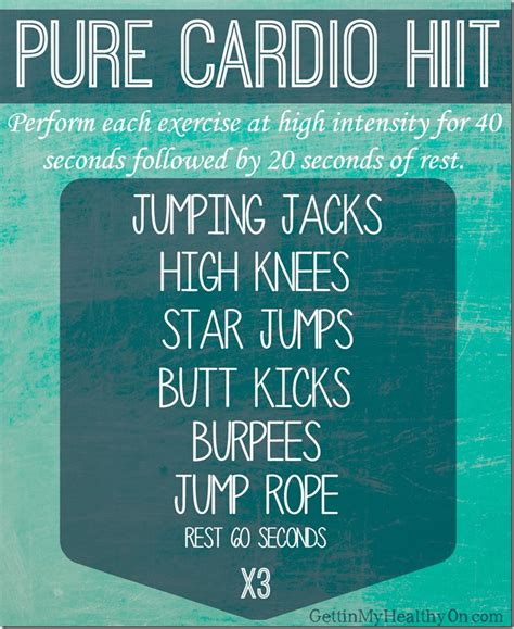 cardio hiit workout my favorite things gettin my