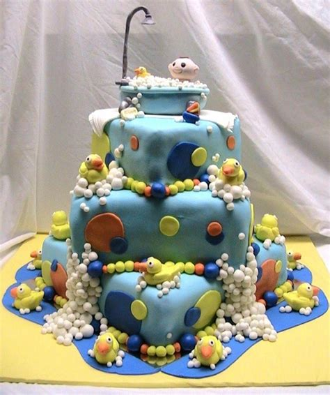 ducky bathtub baby in a bath tub ducky baby shower cake cakecentral com