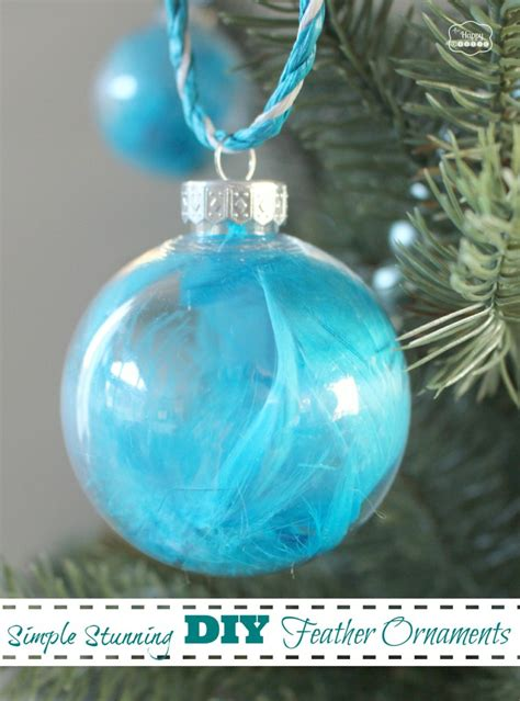 simple stunning diy feather ornaments the happy housie