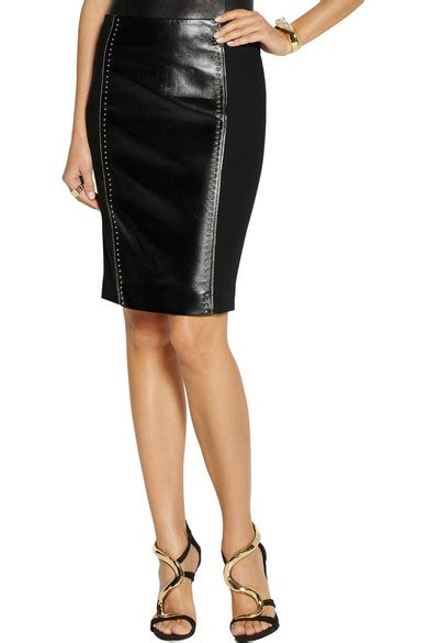 versace studded leather and jersey pencil skirt net a
