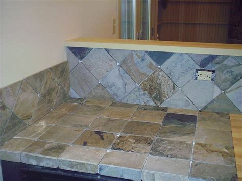 slate countertop and backsplash ungrouted tile stuff