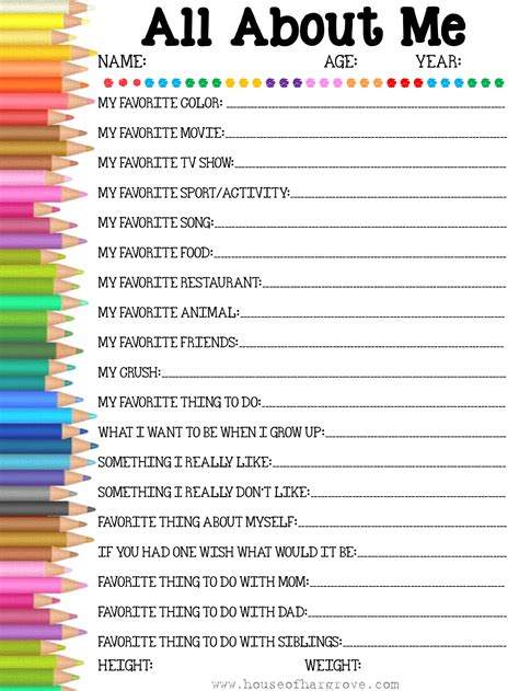 All About Printable back to school free printable all about me