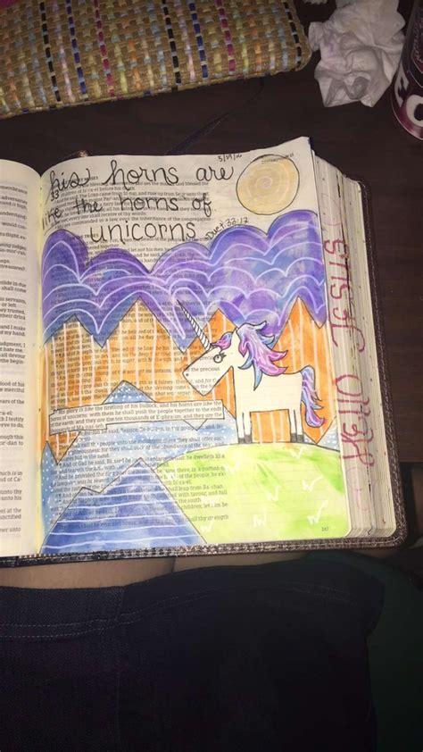 lindsey ramsey deuteronomy 33 17 unicorns bible journaling kjv bible