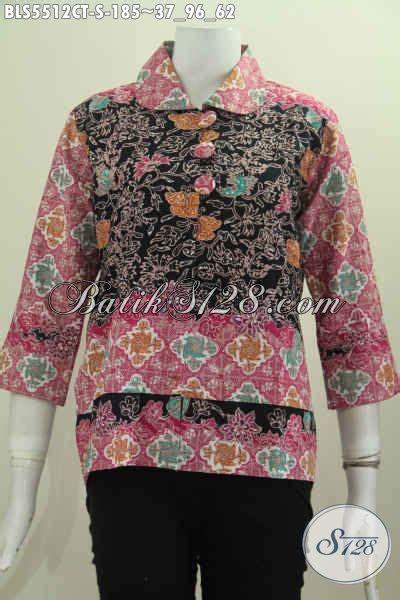 Kancing Bunga Besar baju batik motif bunga pakaian batik modern desain kerah