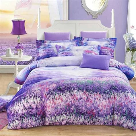 brushed cotton fashion bedding bed set lavender flower